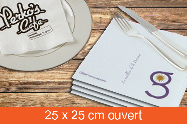 Serviette de table 25 x 25 cm ouvert