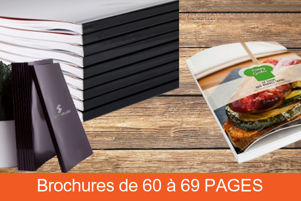 Brochure dos carré collé de 60 à 69 pages