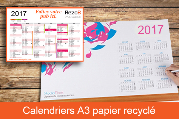 calendrier a3 papier recycle