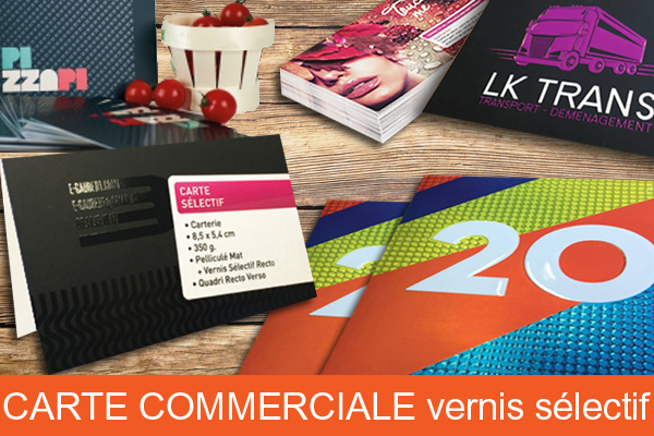 Carte commerciale double vernis selectif