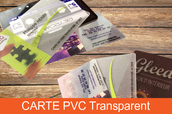 Carte PVC transparent