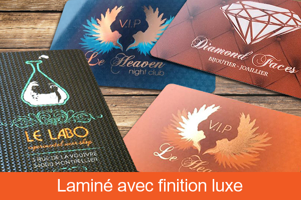 Carte PVC laminé finition luxe