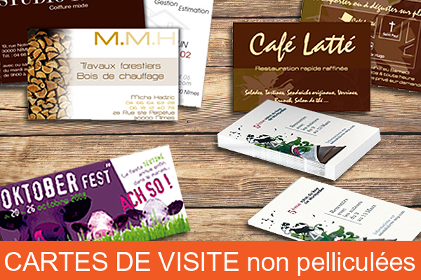 carte de visite simple non pelliculee